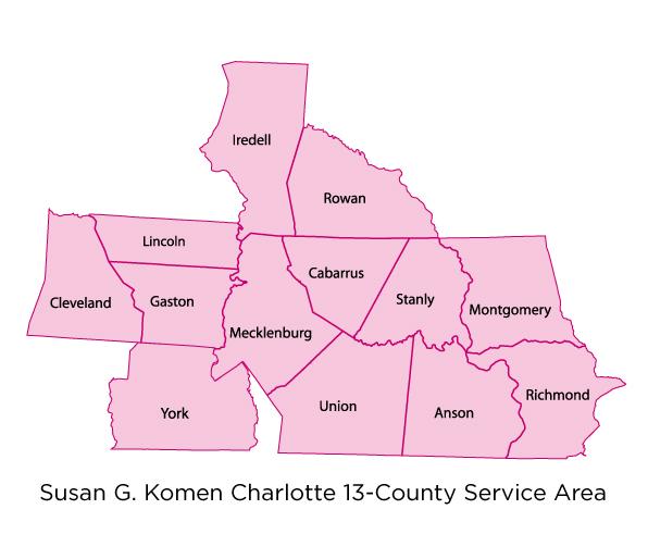 Komen Charlotte Service Area Map